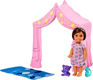 Barbie Skipper Babysitters Inc. Doll Playset Includes Small Toddler Doll, Pink Tent and Cloud-Print Sleeping Bag, Plus Bot...