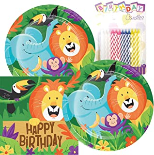 Jungle Safari Themed Party Pack – Includes Paper Plates & Luncheon Napkins Plus 24 Birthday Candles – Servers 16