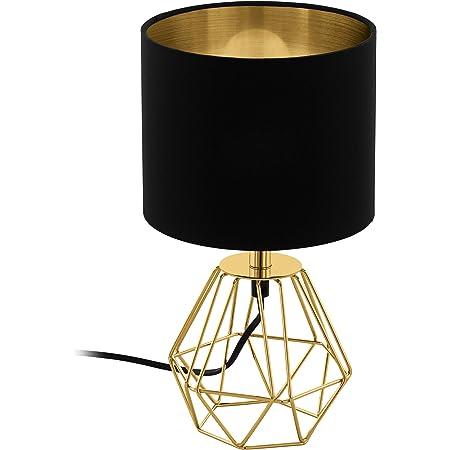 EGLO Lampe de Table Carlton 2, 1 Lampe à Poser Vintage à Flamme, Lampe de Chevet en Acier et en Tissu, Couleur : Or, Noir, Douille : E14, Interrupteur Inclus