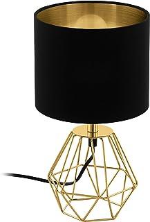 EGLO Lampe de Table Carlton 2, 1 Lampe à Poser Vintage à Flamme, Lampe de Chevet en Acier et enTissu, Couleur : Or, Noir, ...