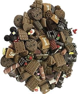 100 piezas de cuentas de chocolate finas con adornos de resina de chocolate, accesorios para casas, Slime, bricolaje, teléfono móvil y horquillas para el pelo 100 Pieces