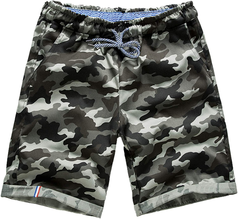 WSLCN Men's Retro Baggy Cargo Shorts Cotton Outdoor Casual Combat Camo Shorts Cropped Pants