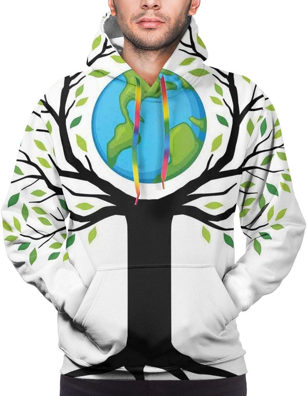 Men's Hoodies Sweatshirts,Eco Friendly Earth Tree Saving The Planet Life Climate Symbolic Home Art