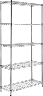 AmazonBasics 5-Shelf Adjustable, Storage Shelving Unit, Steel Organizer Wire Rack, Chrome