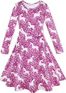 JK Unicorn Rainbow Print Casual Summer Dress for Girls