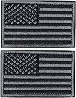 2 PCS American Flag Patch Tactical Military Uniform Patches,USA Flag Embroidered Patch for Backpacks,Hat,Vest,Jackets,Caps,Bags,Hat,Clothes,Military Uniforms,Tactical Gears Etc (Black & Gray)