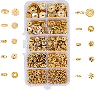 HANYAN 300pcs Gold Spacer Beads Alloy 10 Styles 7-12 mm Bead Spacers for Bracelet Necklace Jewelry Making