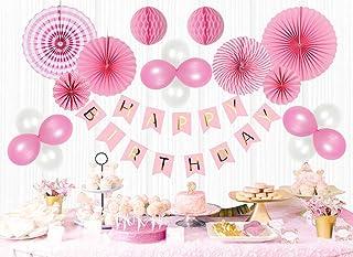 Mainiusi 風船 誕生日 飾り付け バルーン セット 女の子 一歳 バースデー パーティー 装飾 HAPPY BIRTHDAY ガーランド ペーパーファン お祝い デコレーション 29個 (ピンク)