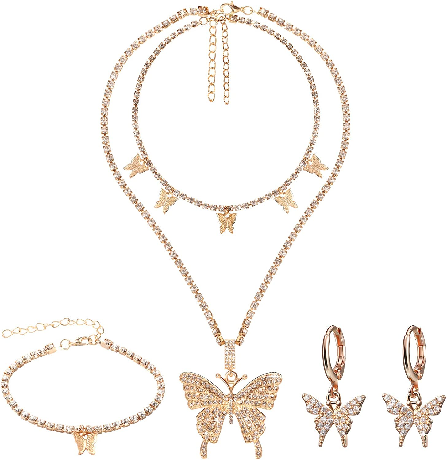Hicarer Big Butterfly Pendant Necklace Rhinestone Chain Shiny Crystal Choker Pendant Collar Necklace and Butterfly Bracelet Butterfly Earrings Jewelry for Women Girl (Gold)