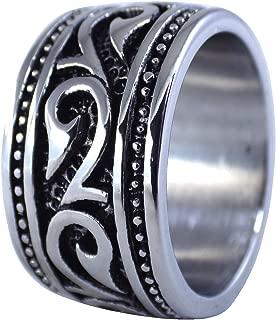 Fantasy Forge Jewelry Mens Hawaiian Makau Tribal Hook Ring HEI Matau Band Stainless Steel Size 8-16