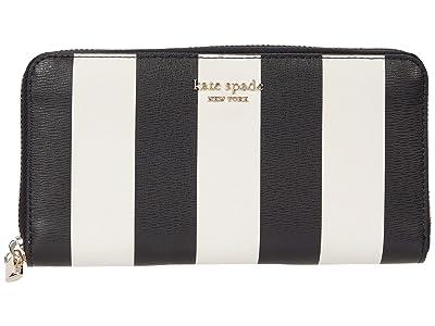 Kate Spade New York Spencer Stripe Zip Around Continental Wallet (Black Multi) Wallet Handbags