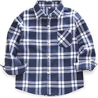 Boys' Girls' Long Sleeve Button Down Plaid Flannel Shirt