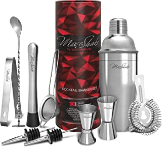 Cocktail Shaker - Cobbler Shaker - Bartender Kit - Bar Supplies - Drink Mixer - Martini Shaker Set-11 Piece Stainless Steel Cocktail Shaker Set With Strainer, Muddler, Two Jiggers, Bar Spoon,Ice Tongs