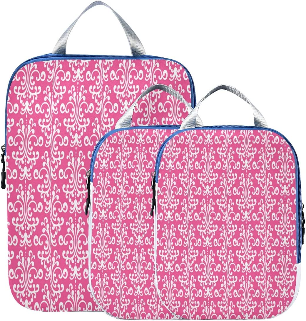 3 Piece Packing Travel Max 44% OFF Organizer Cubes Set Fixed price for sale Flor And Pink Magenta