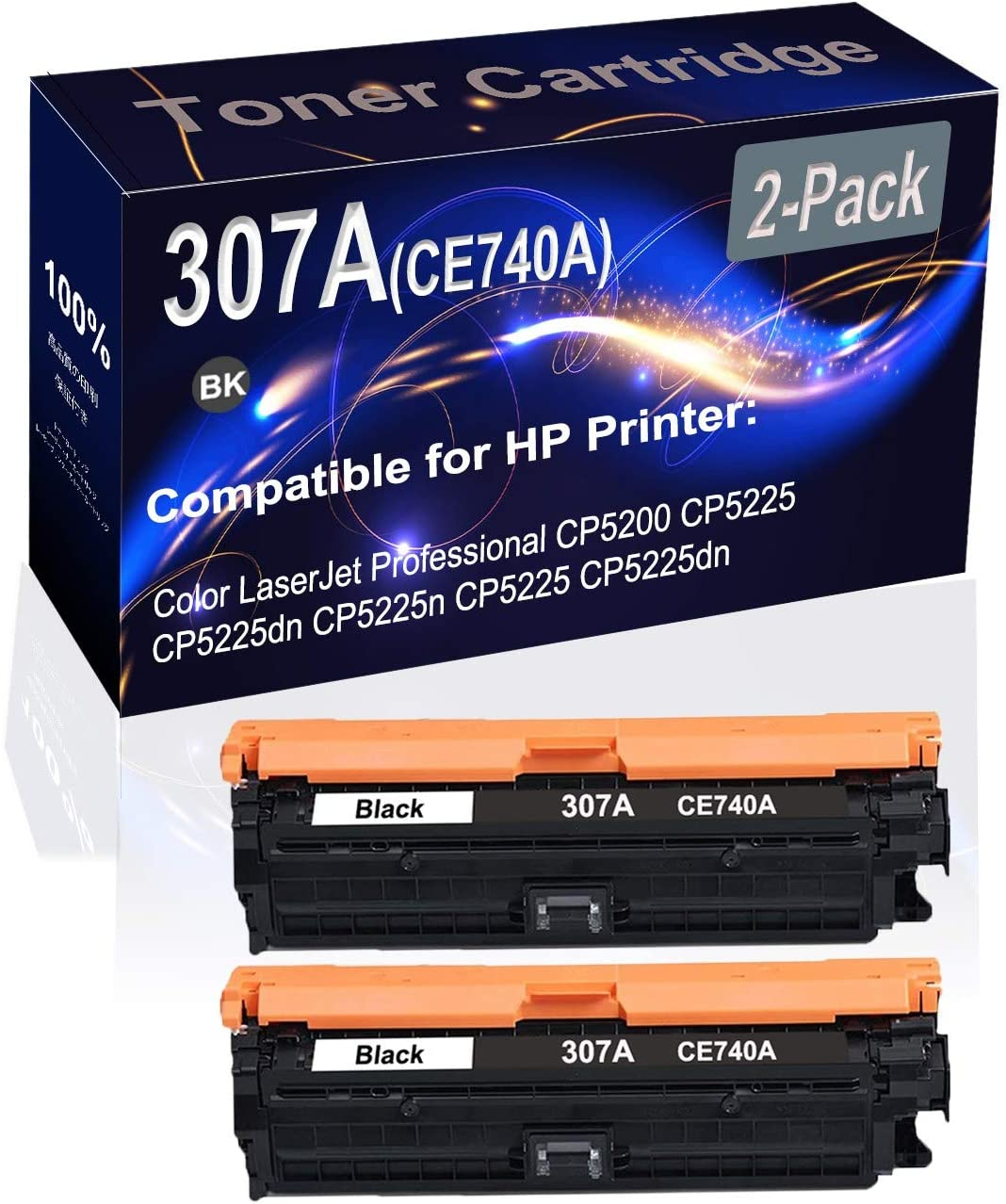 2-Pack (Black) Compatible CP5200 CP5225 Laser Toner Cartridge (High Capacity) Replacement for HP 307A (CE740A) Printer Toner Cartridge