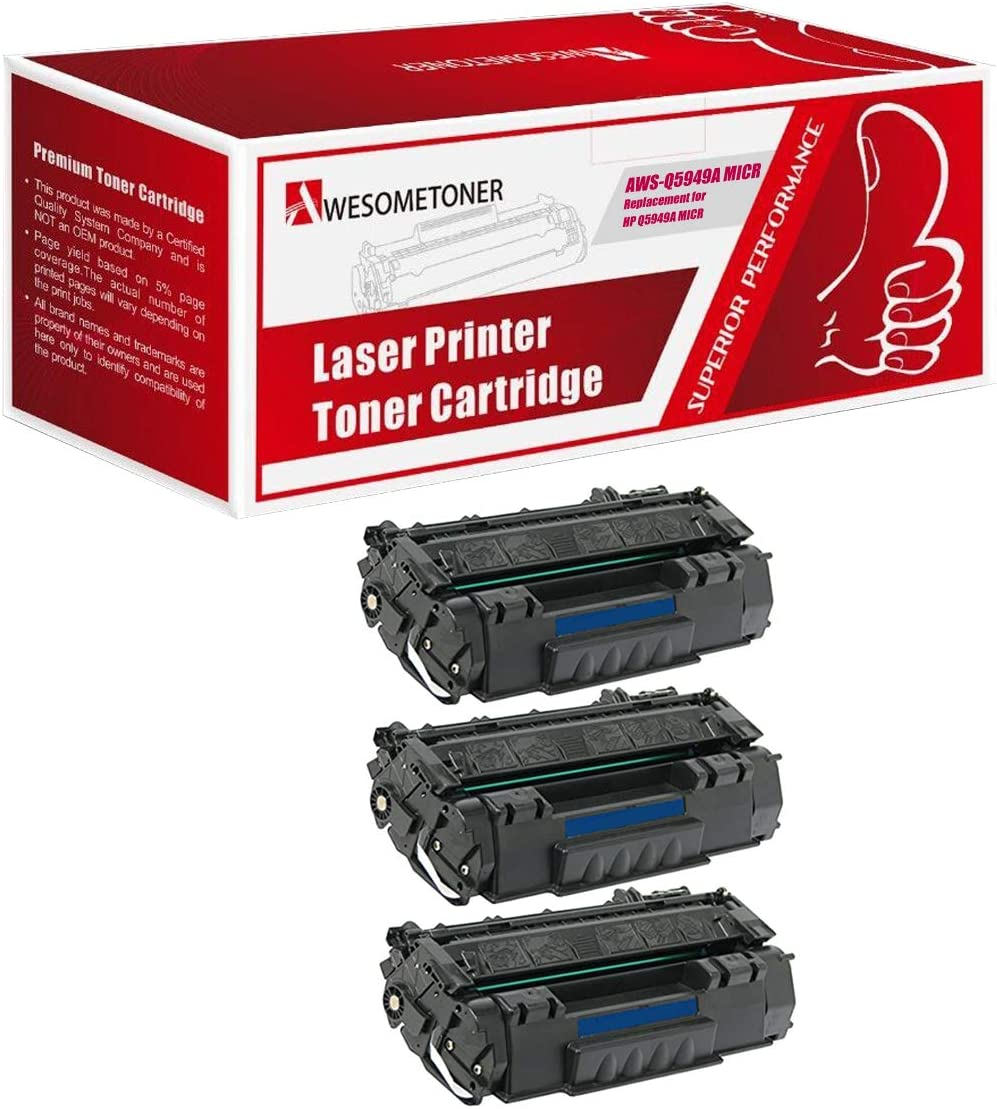 Awesometoner Compatible Toner Cartridge Replacement for HP Q5949A MICR use with Laserjet 1160, 1320, 1320n, 1320nw, 1320tn, 3390, 3392 (Black, 3-Pack)