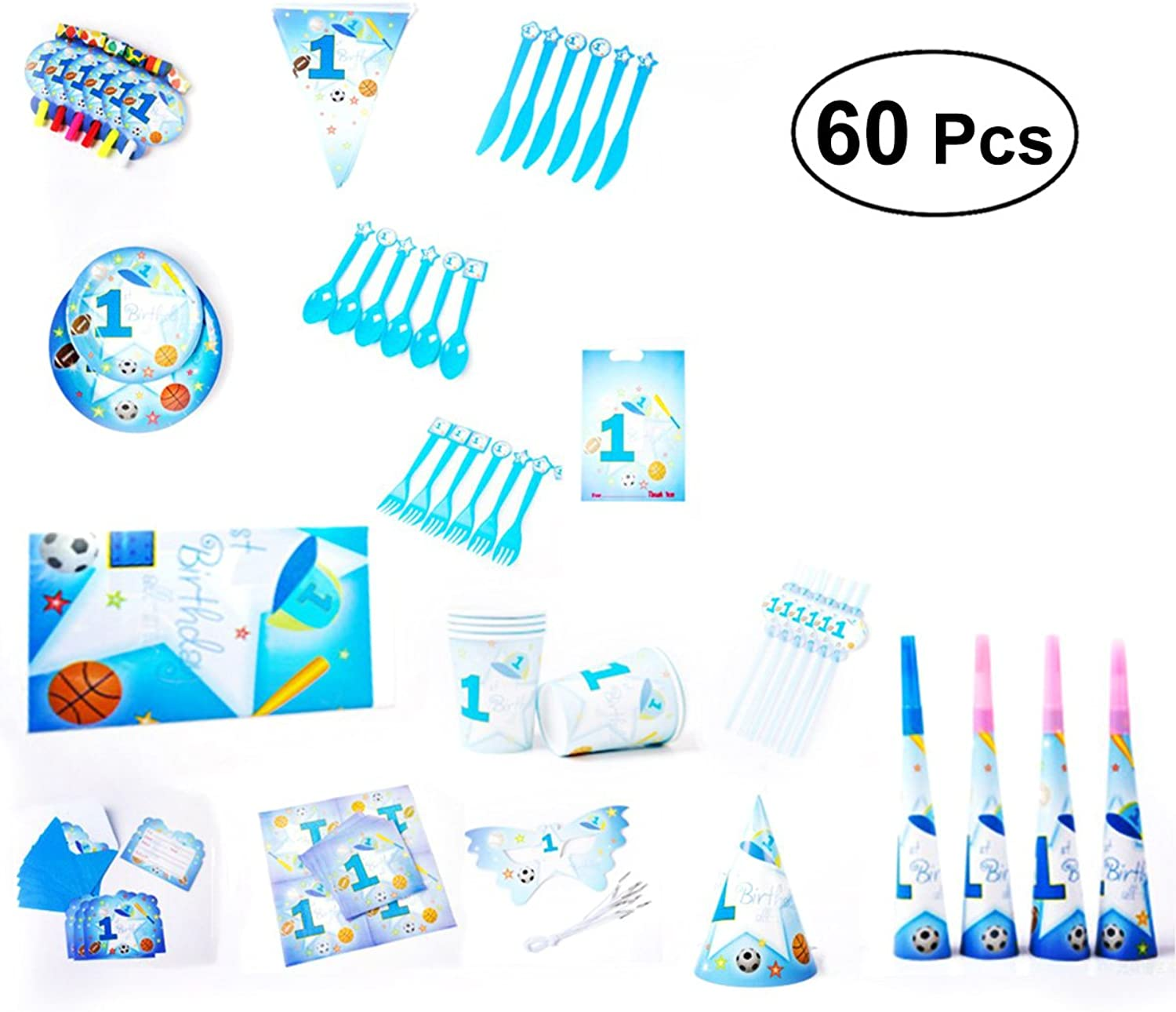 BESTOYARD Birthday Party Paper Tableware Set Baby Shower Party Decoration Kit for 6 Person 90 Pcs