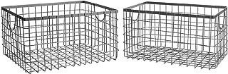 SLPR Wire Storage Shelf Basket (Set of 2) | Organizer Storage Container for Laundry Pantry Freezer Cabinet (Industrial Grey)
