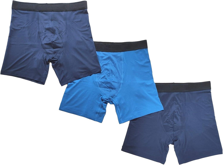 Men's Athletic Works 3-Pack Premium Boxer Briefs Performance Stretch Underwear