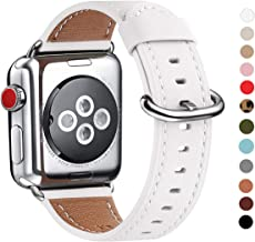 WFEAGL Compatible with iWatch Band 38mm 40mm 42mm 44mm, Top Grain Leather Band for iWatch Series 5,Series 4,Series 3,Series 2,Series 1,Edition(White Band+Silver Adapter, 38mm 40mm)