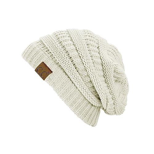 8c3796e429f C.C Trendy Warm Chunky Soft Stretch Cable Knit Beanie Skully