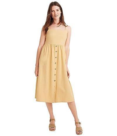 Madewell Texture Thread Cami Button Front Midi Dress (Sundried Wheat) Women