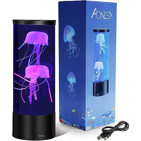 Lampe méduse, Méduse LED Mood Lampe De Méduse avec 7 Couleurs Changeantes, Aquarium USB LED Lampe Méduse, Cadeau d'anniversaire de Noël (noir)