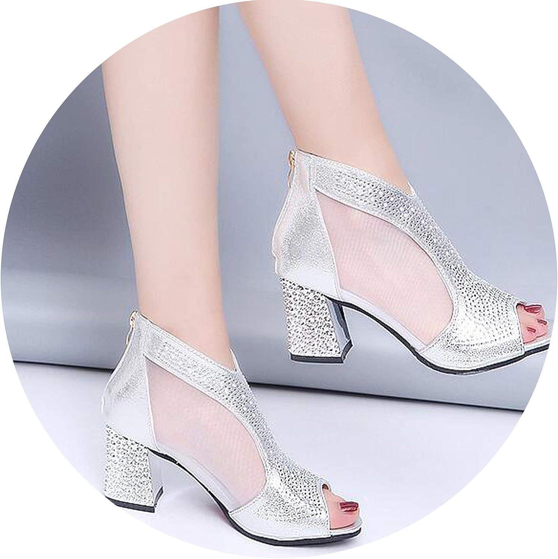 HANBINGPO Fashion Women Sandals Bling 7cm High Heels Diamond Summer Square Heel Women shoes Wedding shoes Leather Sandalia m637