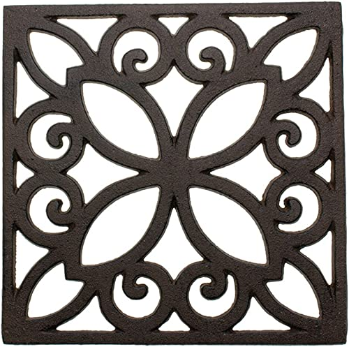 Comfify Decorative Cast Iron Trivet for Kitchen Or Dining Table | Square with Vintage Pattern - 6.5 x 6.5 | with Rubb...