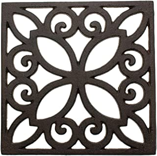 Decorative Cast Iron Trivet For Kitchen Or Dining Table | Square with Vintage Pattern - 6.5 x 6.5
