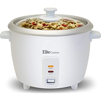 Elite Gourmet Electric Rice Cooker with Automatic Keep Warm Makes Soups, Stews, Grains, Cereals, 3 Cup, White
