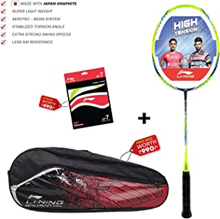 Li-Ning Turbo X 80-II Carbon-Graphite Badminton Racquet with high tensile Gut & Bag