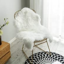 Nordmiex Non Skid Backing Faux Fur Sheepskin Rug-Deluxe Soft Faux Sheepskin Chair Cover, Seat Cushion Pad Plush Fur Area Rugs for Bedroom Sofa Floor, 2ft x 3ft-White