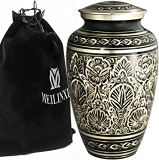 Funeral Urn by Meilinxu - Cremation Urns for Human Ashes Adults and Memorial Urn - Design is Hand Engraved in Brass - Buri...