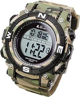 [ラドウェザー]ソーラー腕時計 メンズ時計 デジタルウォッチ ミリタリー 100m防水 サバゲ― ストップウォッチ (カモフラブラウン(通常液晶))