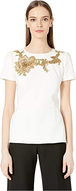Crepe Peplum Top with Gold Floral Embriodery