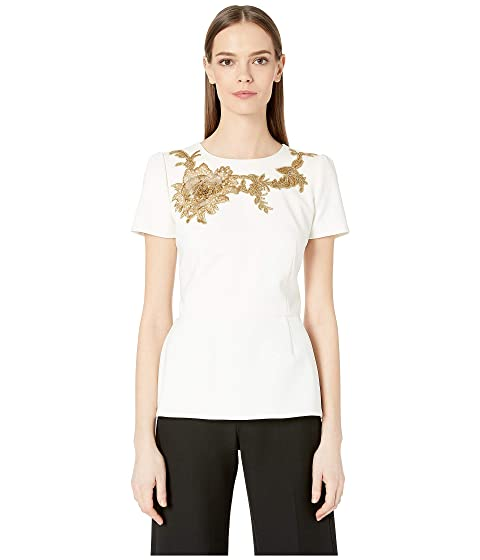 Marchesa Crepe Peplum Top with Gold Floral Embriodery