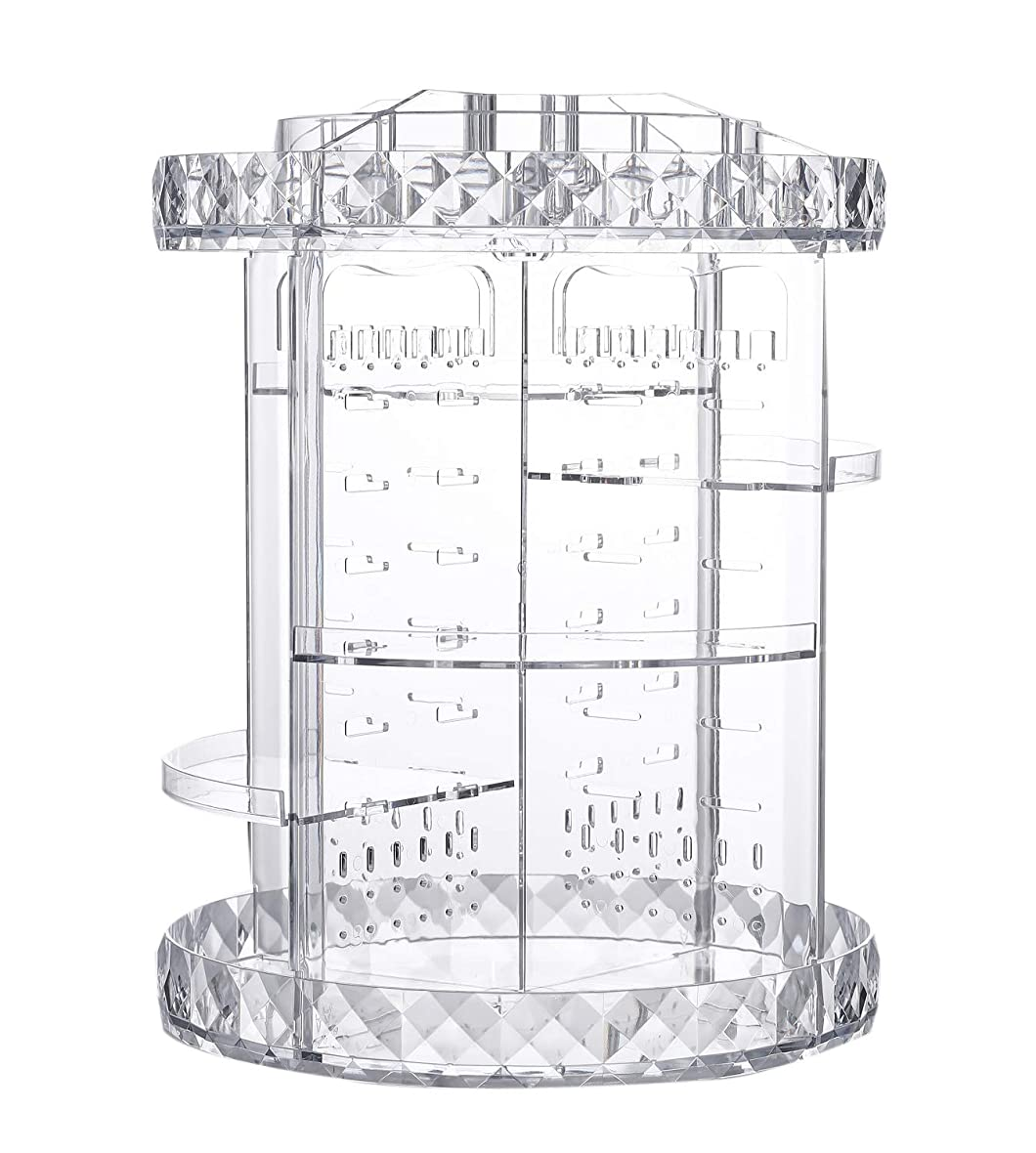 裸高潔な強調する化粧品収納ボックス ネックレス収納 アクセサリー収納 回転式360度 透明 メイクボックス 組み立て 調整可能