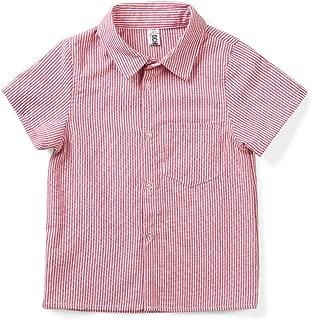 OCHENTA Little Boys' Short Sleeve Button Down Oxford Shirt, Big Kids Casual Dress Tops
