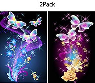 2 Pack 5D Full Drill Butterfly Diamond Painting Kit, UNIME DIY Diamond Rhinestone Painting Kits for Adults and Beginner Embroidery Arts Craft Home Decor, 16 X 12 Inch (Butterfly Diamond Painting)