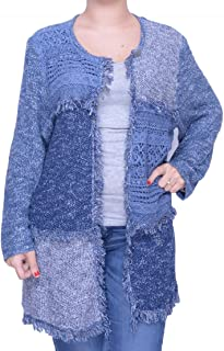 Alfred Dunner Womens 34866KE Block Print Sweater Pullover Sweater - Blue
