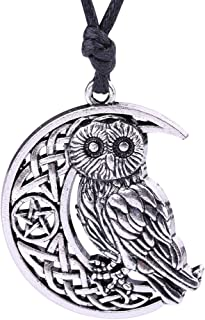 Fashion Viking Irish Knot Owl Animal Pendant with Pentagram Moon Pattern Necklace Jewelry (Antique Silver)