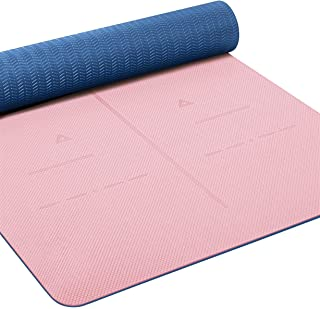 Heathyoga Eco Friendly Non Slip Yoga Mat, Body Alignment System, SGS Certified TPE Material - Textured Non Slip Surface an...