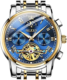 Swiss Brand OLEVS Luxury Automatic Movement Watch Men Mechanical Waterproof Stainless Steel Moon Phase Wrist Watch Luminous Hands Roman Tourbillon Skeleton Self Winding Wristwatch (No Battery Required)