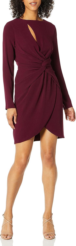 Dress the Population Women's COBY Long Sleeve Stretch Crepe Twist Short Dress, Burgundy, XS