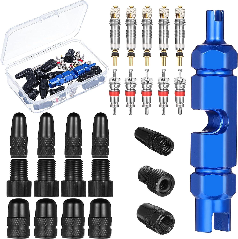 ALTcompluser Adaptador de válvula de bicicleta de 26 piezas, convertidor de válvula Schrader, tapones de válvula, herramienta para quitar núcleos de válvula.
