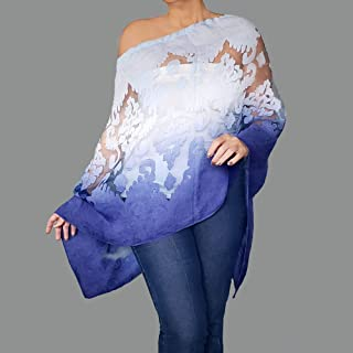 afb74f1074ed6 Ombre Blue Shawl Semi Sheer Poncho Wrap Organza Off The Shoulder Top By  ZiiCi