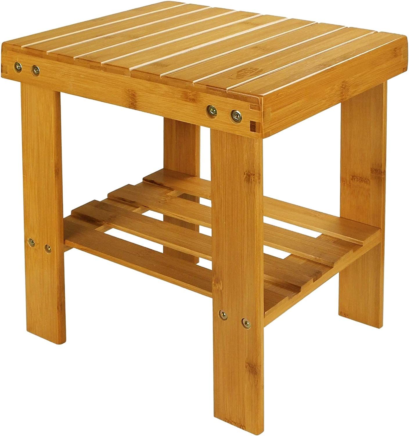 STARVAST Small Bamboo Step Stool shoes Bench Multi-Functional Wooden Stool Seat Kids Foot Stool Ideal for Entryway Foyer Hallway Garden - Large Size