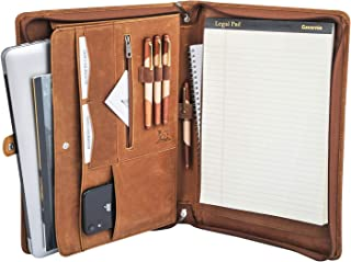 Gavarnie Genuine Leather Business Portfolio Padfolio Folder with Zipper for Men, Men's Leather Padfolio Folder for 13