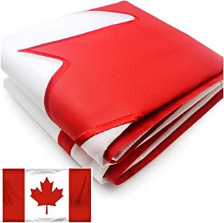 VSVO Canada Flag 3x5 ft - Outdoor Nylon Banner - Double Sided Embroidere Maple Leaf Red and White Canadian National Flags - Vivid Color UV Fade Resistant - Double Stitched
